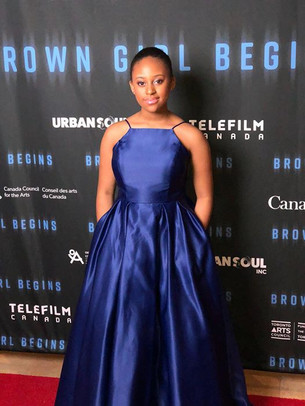 Allison Augustin on the red carpet for Brown Girl Begins