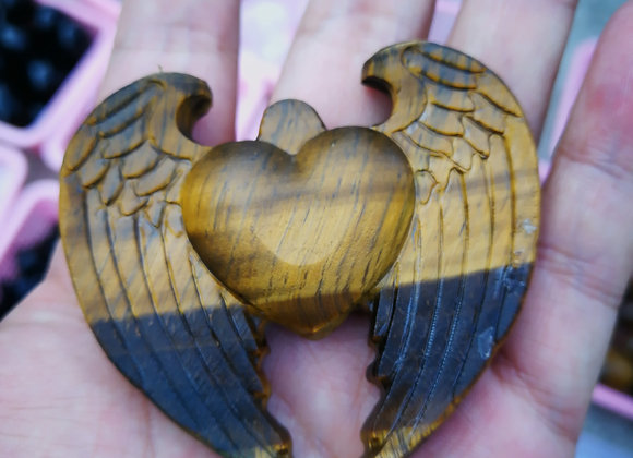 Hand carved Tigers Eye Heart with Wings