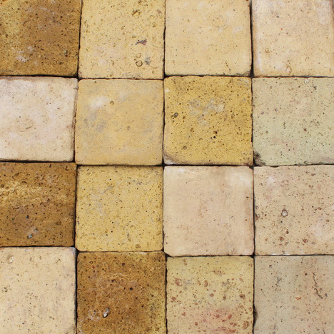 6″ reclaimed Lyon sand and yellow French Terracotta tiles