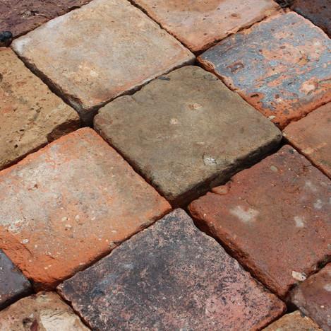 4″ square red French Terracotta flooring tiles