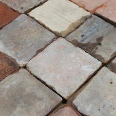 5″ square red French Terracotta flooring tiles