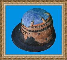 kapelusz Retro Lady z tkaniny z nadrukiem KT10