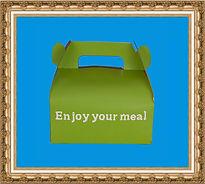 Lunchbox kartonowy, torba składana,gadżet DIY, lunchbox z nadrukiem