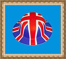 melonik brytyjski, melonik z tkaniny z nadrukiem