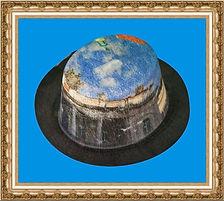 kapelusz cylinder z tkaniny z nadrukiem KT5