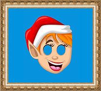 Maska Elfa, maska karnawałowamaska kartonowa, maska z nadrukiem, maska reklamowa, maska na gumce
