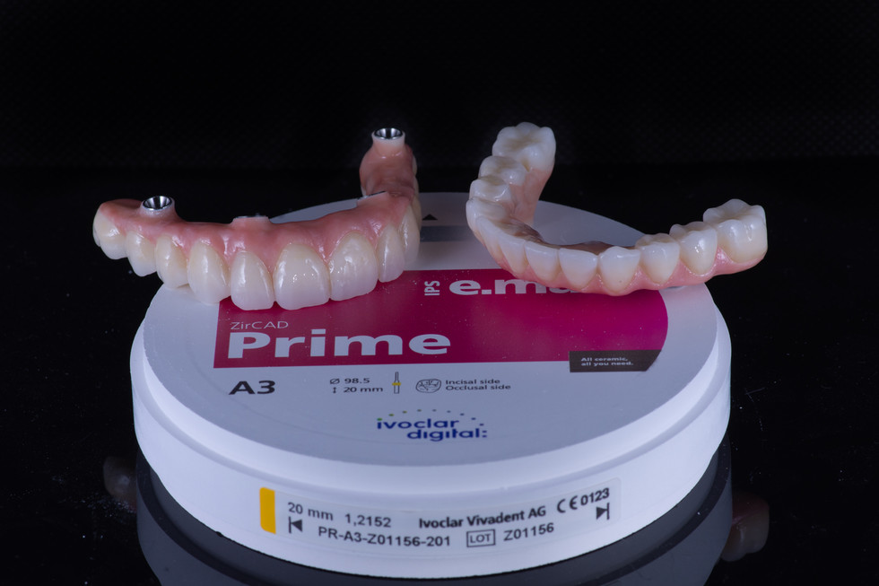 Full arch bridges milled using quality zirconia discs. IPS e.max ZIRCAD Prime