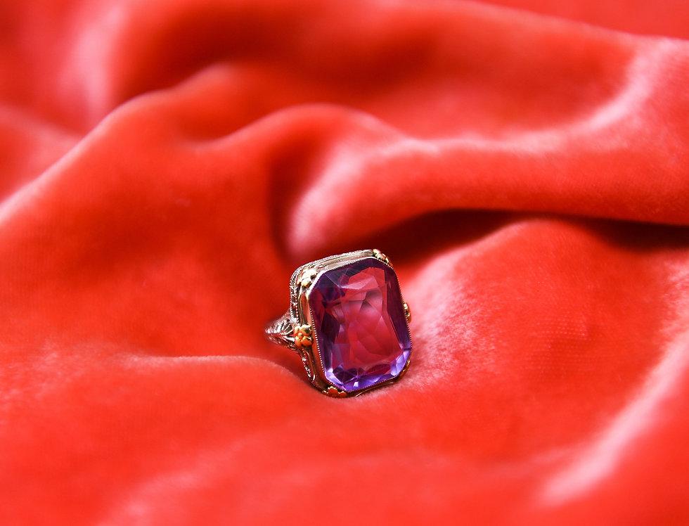 Antique Amethyst Deco Ring
