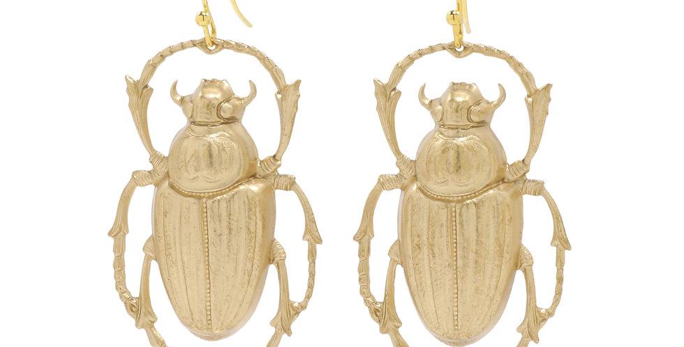 Gold Beetle Earrings