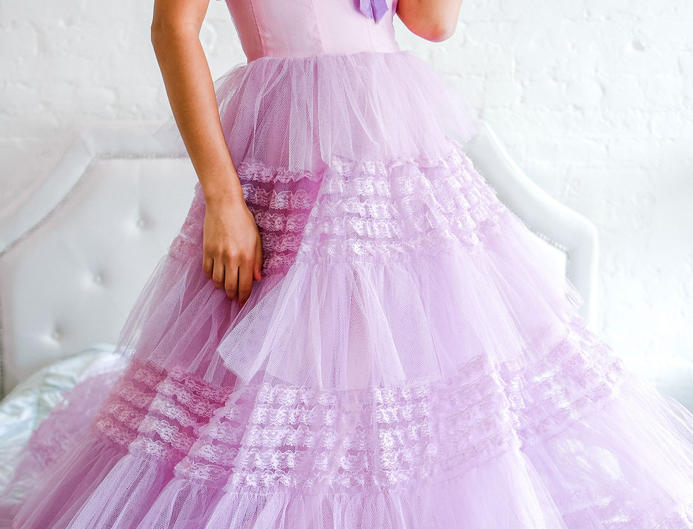 Vintage 1950s Lavender Tulle Gown
