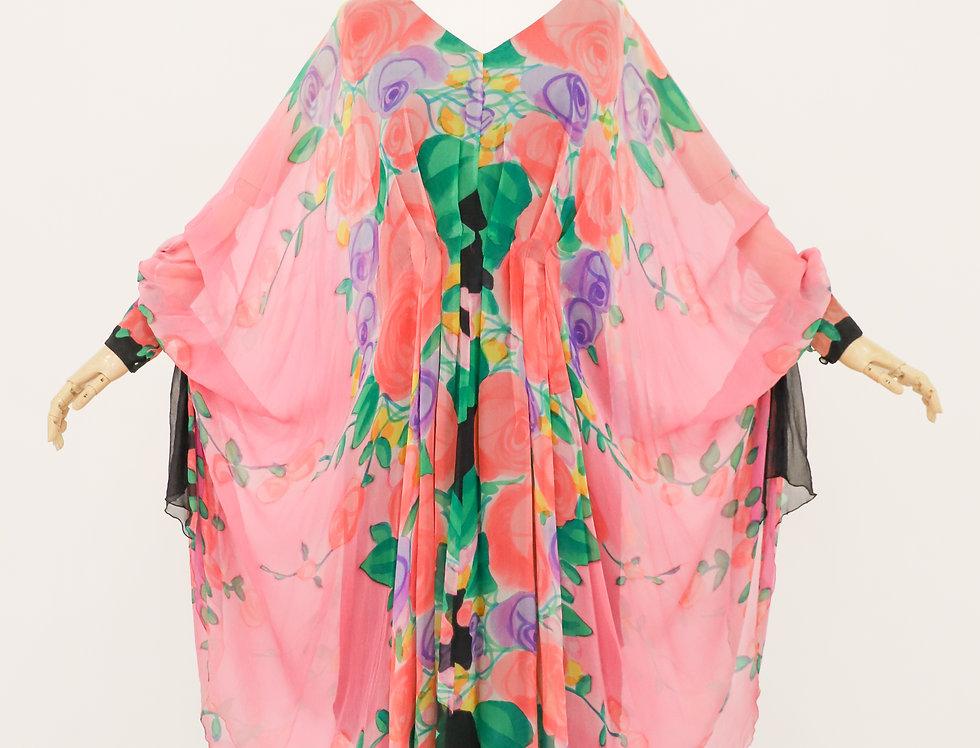 Artist's Palate Watercolor Silk Cocoon Dress