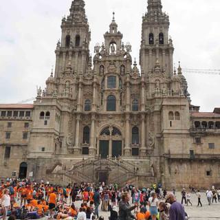 Die Kathedrale von Santiago de Compostela ist ein integraler Bestandteil der Santiago de Compostela World Heritage Site in Galizien.