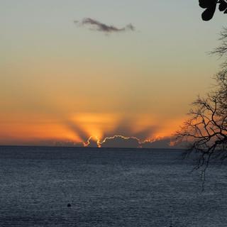 Blick auf den Sonnenuntergang vor dem Rock Side Cafe ...