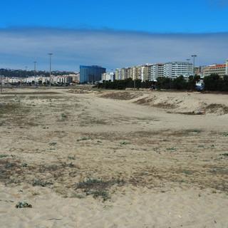 Breiter Strand zwischen Meer und Hochhäusern