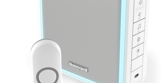 White Honeywell Wireless portable doorbell with range extender, sleep mode and push button DC915