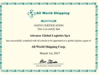 Certificado All World Shipping Network
