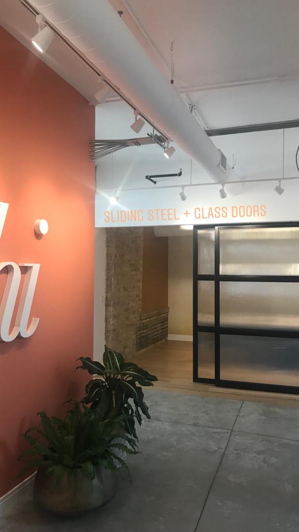 Minimalist sliding office doors
