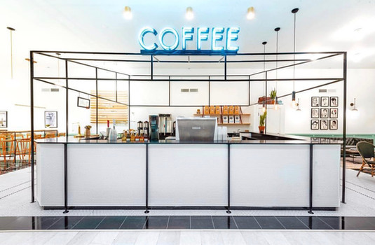 Steel Kiosk Frame for Teller's Coffee in the BMO Harris Bank Building