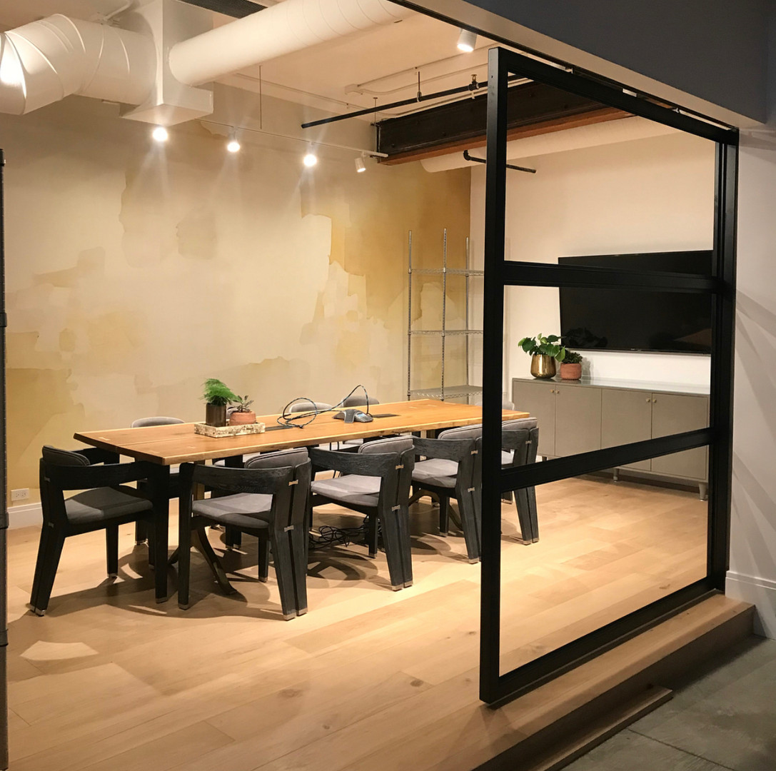 Minimalist office sliding door