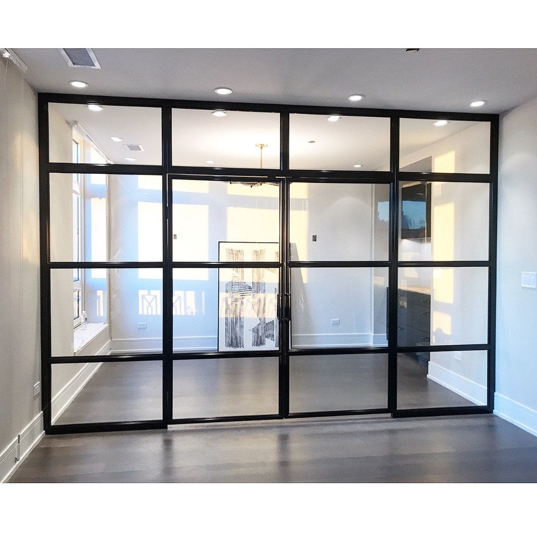 Modern office wall with french doors