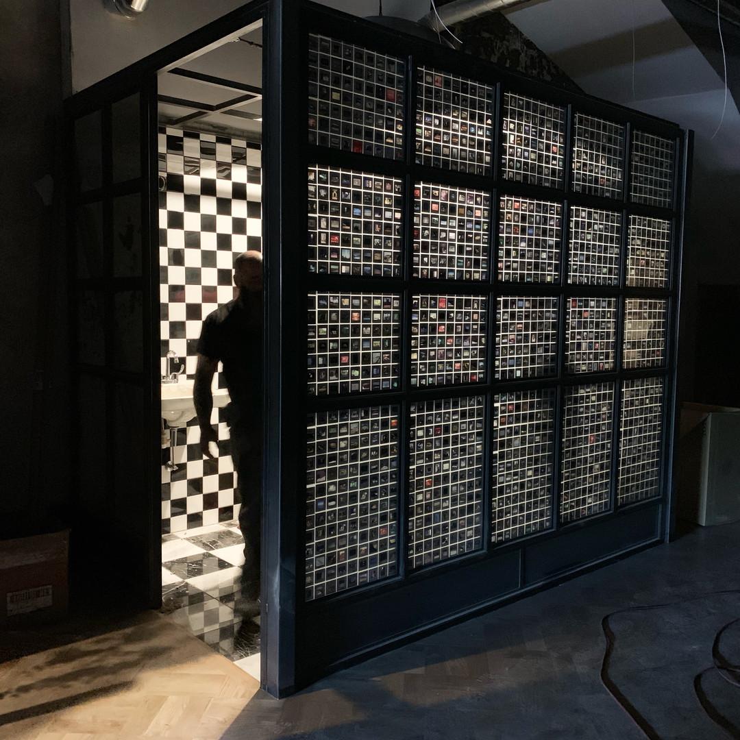 Industrial bathroom walls