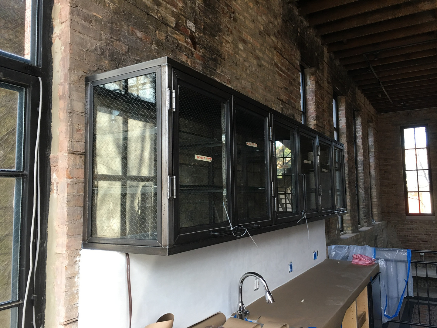 Industrial Steel and Glass Cabinet