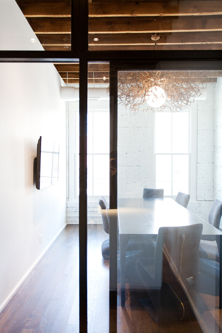 Steel Table, Steel and Glass Walls with Sliding Doors