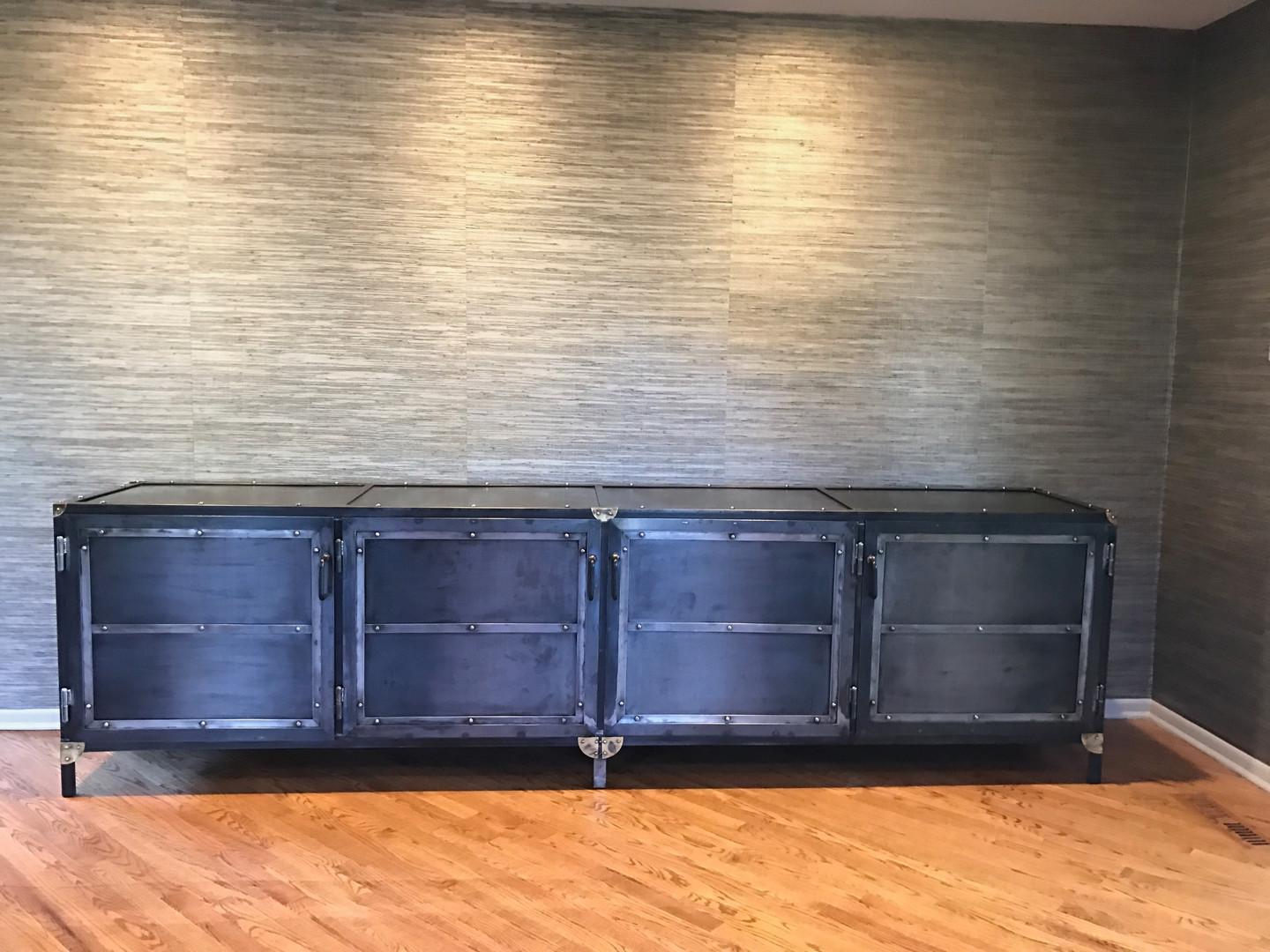 Industrial Raw Steel Credenza