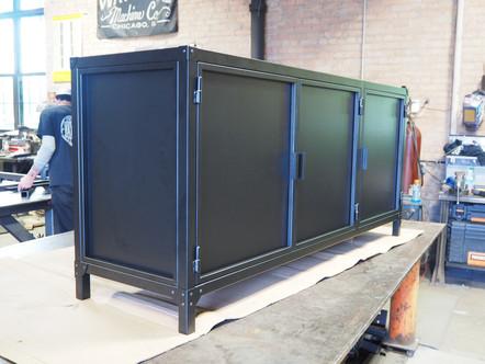 Modern Black Steel Credenza