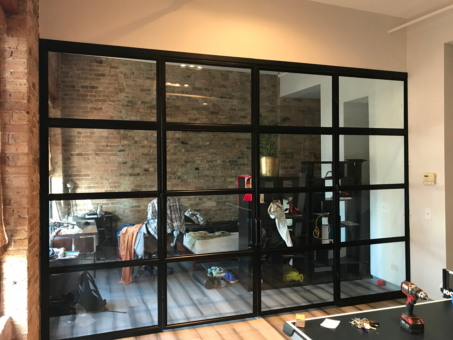 Modern office wall and frech doors