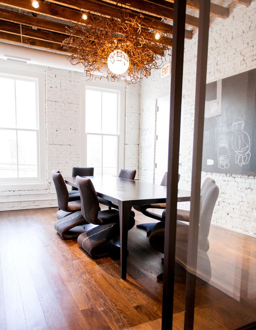 Steel Table, Steel + Glass Walls