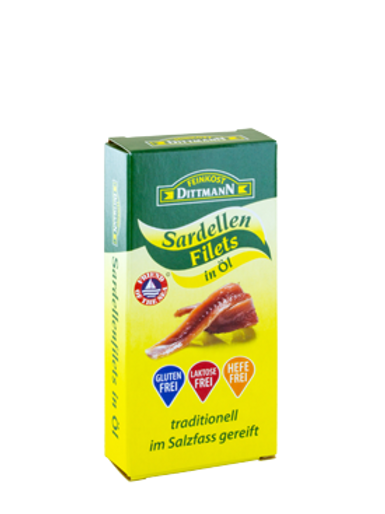 50gr Feinkost Dittmann Sardellen Filets in Öl, Anchovy im Salzfass gereift