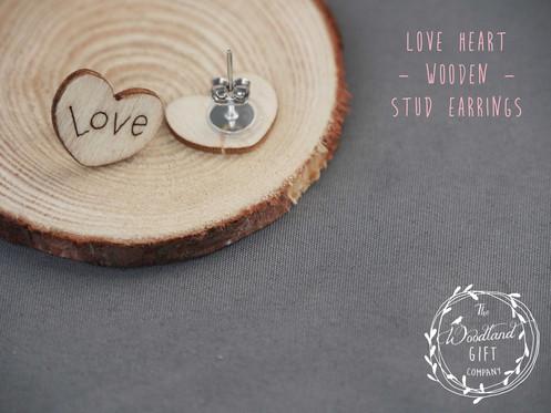 d507b21de Wooden, love, Heart, Stud, Earrings, Women's, Birthday Gifts, Woodland