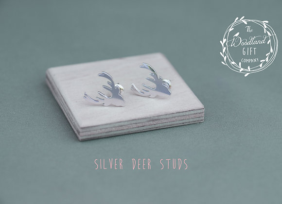 Silver, Deer, Stud Earrings, Women's, Birthday Gifts, Woodland Gifts, For, Studs, Earrings, Jewellery, Gifts,