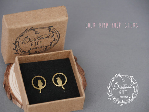 a11039c9d Gold, Bird, Stud Earrings, Women's, Birthday Gifts, Woodland Gifts, For