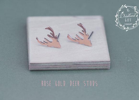 Rose Gold, Deer, Stud Earrings, Women's, Birthday Gifts, Woodland Gifts, For, Women, Studs, Earrings, Jewellery, Gifts,