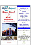 Region Dinner on Monday, February 3, 2020