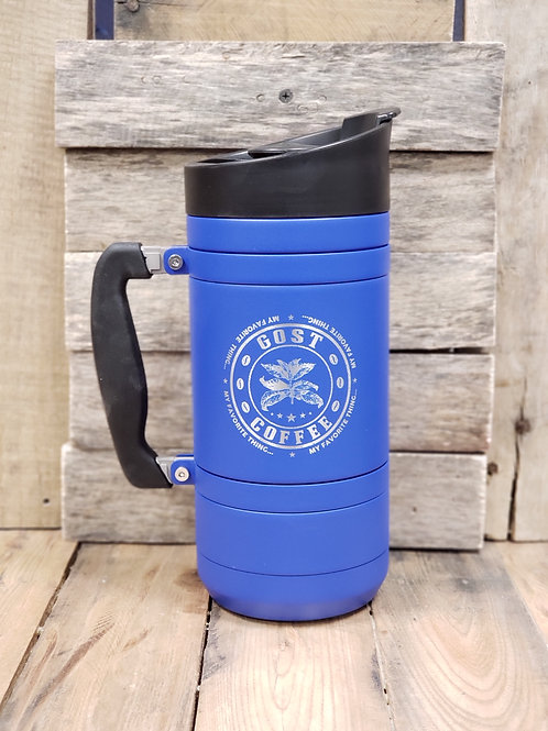 French Press with Bru-Stop Large 48oz Blue