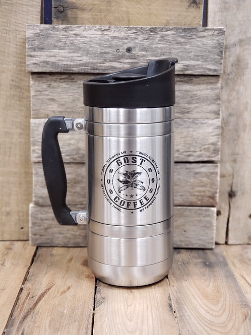 French Press with Bru-Stop Large 48oz Brush Steel