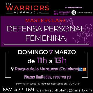 Masterclass defensa personal femenina 7 marzo