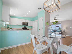 Nicely decored and colored kitchen/living room