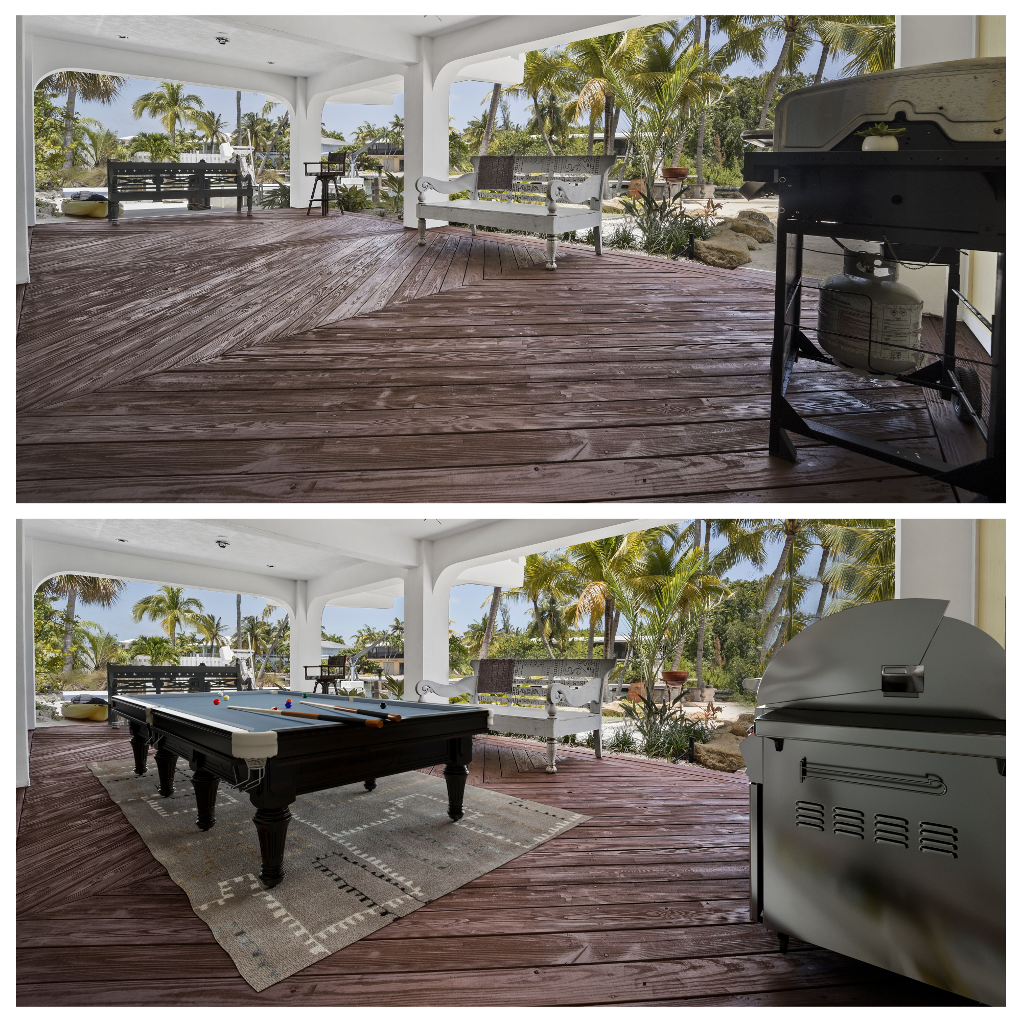 Outdoor Patio With New Grill and Pool Table