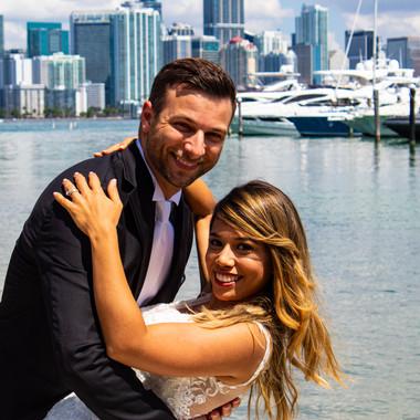 Wedding Couple with Miami Backdrop