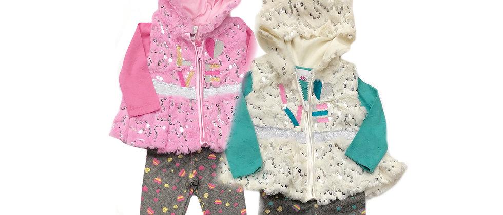 Real Love -Infants 3 Piece Faux Fur Vest Set