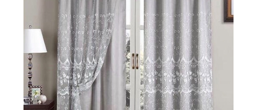"""Aliya 84"""" Embroidered Panel with Attached Valance"""