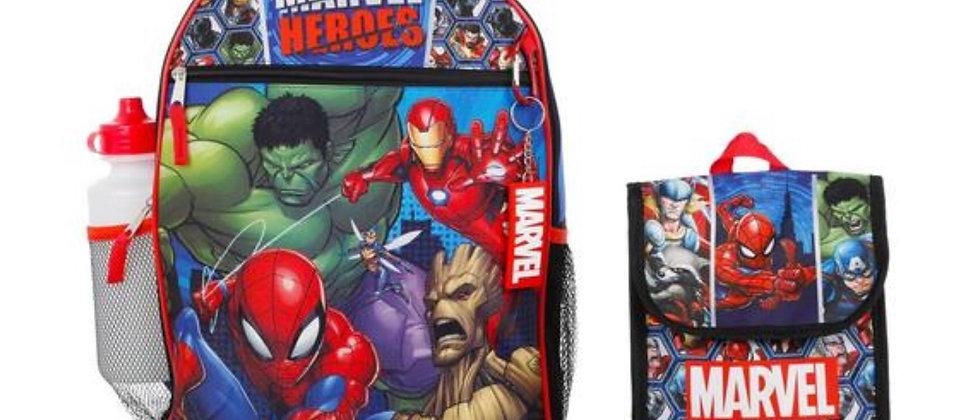 Marvel Heros -5 Piece Character Backpack Set
