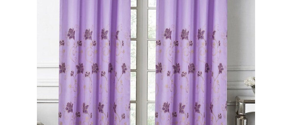 """Sephora Lilac Floral Embroidery 90"""" Single Panel"""