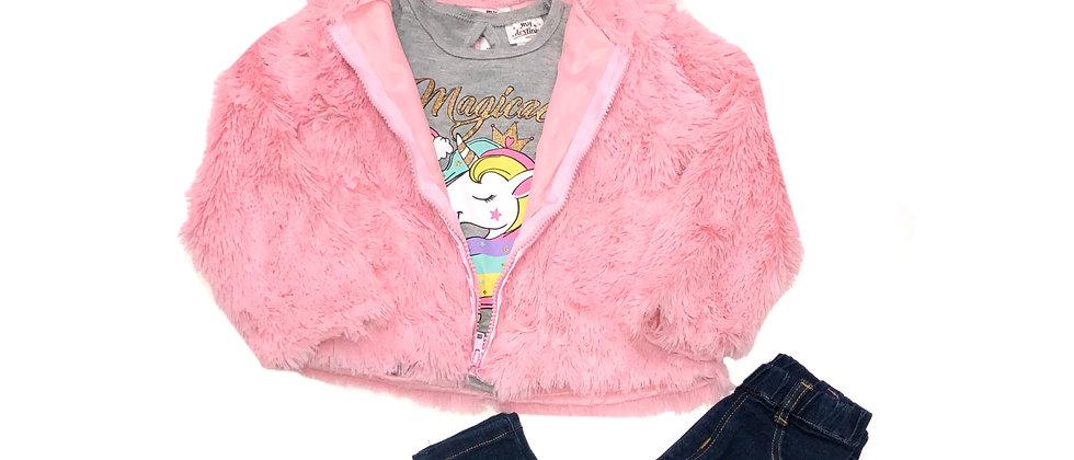 My Destiny Girls' Furry Unicorn 3-Piece Pants Set