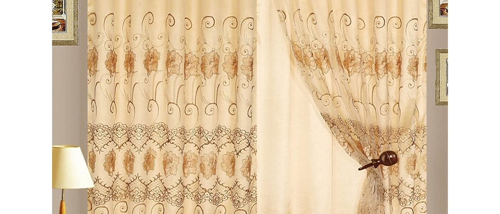 "Melissa 90"" Embroidered Panel with Attached Valance"