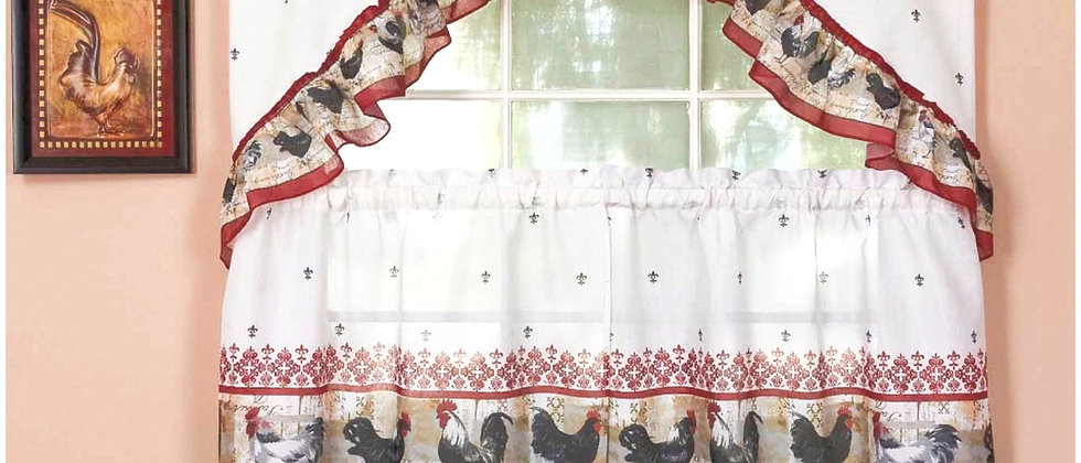 """Rooster   - 3-pc 36"""" Kitchen Curtain Set"""